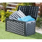 Starplast Rattan Style Black Garden Storage Box Patio With Sit on Lid Plastic