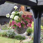 14in Tawny Faux Rattan Hanging Basket