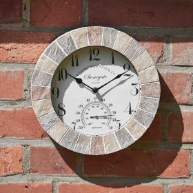 Stonegate Wall Clock & Thermometer 10in