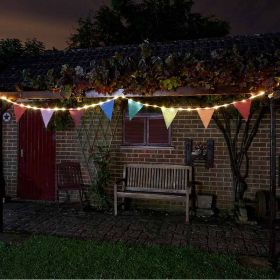 Solar Bunting String Lights - 10 Flags / 39 LEDs