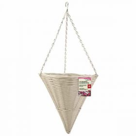 14in Seashell Faux Rattan Hanging Cone