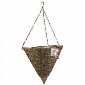 14in Tawny Faux Rattan Hanging Cone