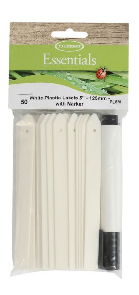 White Plastic Plant Labels 5""